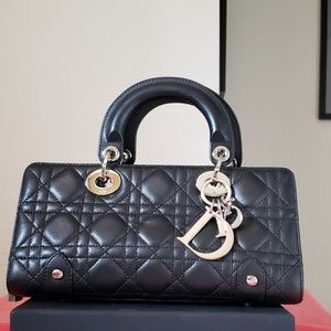 3442d20b7e5d ... leather bag Lady Dior bag black Lambskin clutch tote New Dior Diorama  ...